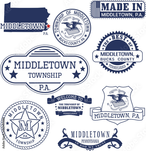 Photo  generic stamps and signs of Middletown, PA
