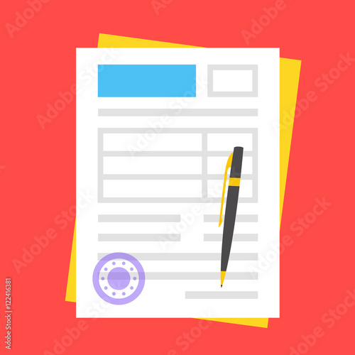 Vector form, round stamp and pen. Filling documents concept Canvas-taulu