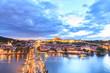 Prague castle and the Charles bridge at dusk
