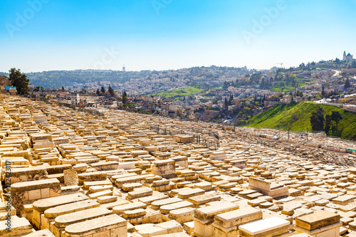 Fotomural Mount of Olives and the old Jewish cemetery in Jerusalem, Israel.