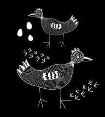 Fototapeta Ptaki White line bird on the black background.