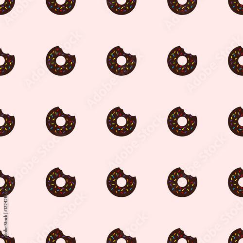 Cotton fabric Bitten donut. Seamless pattern