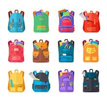 Colored School Backpacks Set