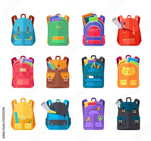 Obraz Colored School Backpacks Set - fototapety do salonu