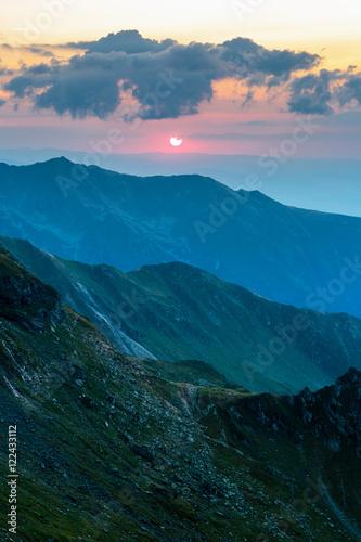 Mountain range at sunset - 122433112