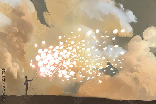 człowiek, uwalniając świecące balony i stada motyli na niebie, malarstwo ilustracyjne