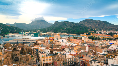 Panoramic the city of Cartagena, Spain