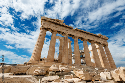 In de dag Athene Parthenon temple on the Acropolis, Athens, Greece