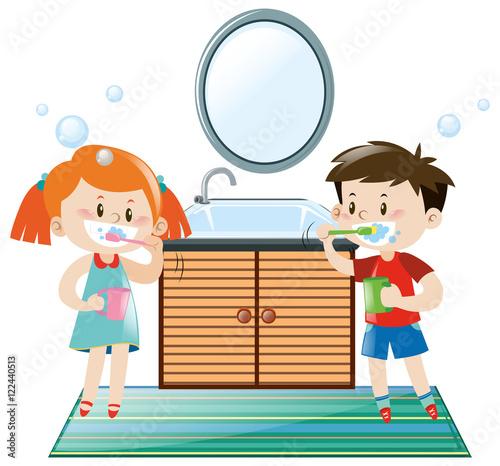 Poster Superheroes Boy and girl brushing teeth in bathroom