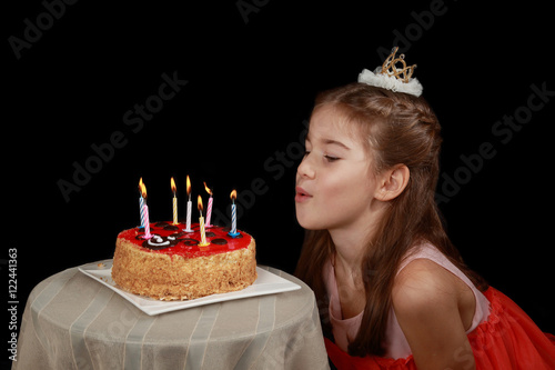 Princess Anniversary Cute Girl In Red Dress And Crown On Head