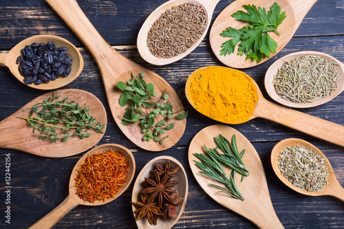 Foto op Canvas Kruiden assortment of spices and herbs