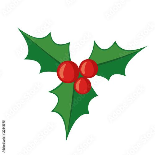 Fototapeta Christmas mistletoe icon in flat style.