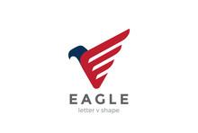 Eagle Logo Abstract Design Vector Falcon Hawk Bird Logotype Icon