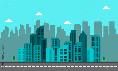 Poster Turquoise Silhouette of city building and street