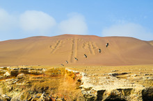 The Paracas Candelabra, Also Called The Candelabra Of The Andes,  Famous Draw On The Sand Of The Ballestas Islands, Peru, South America