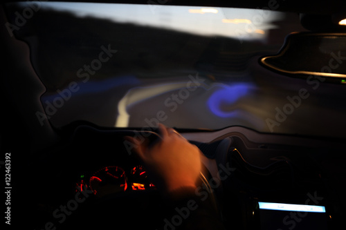 Fototapeta Drunk driver driving the car