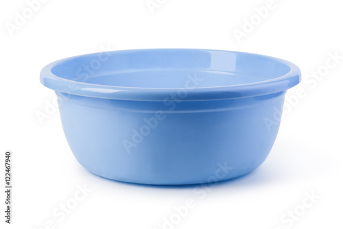 blue plastic wash bowl