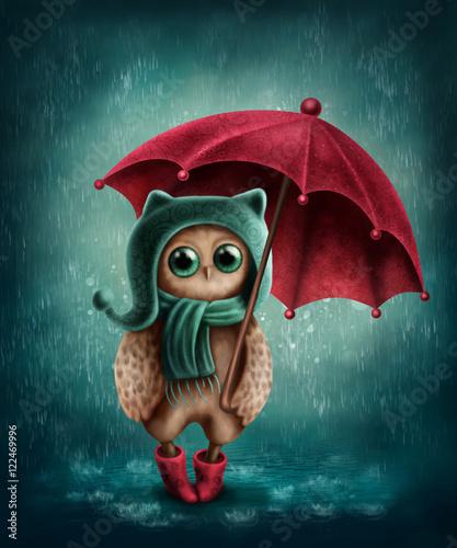 Canvas Prints Owls cartoon Owl with umbrella