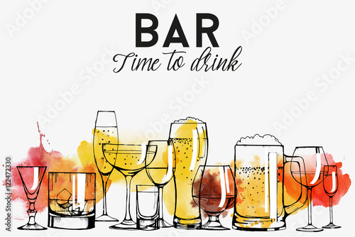 Leinwand Poster Alkohol Getränke Flyer Design
