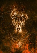 Man In Mystic Fire And Ornamen...