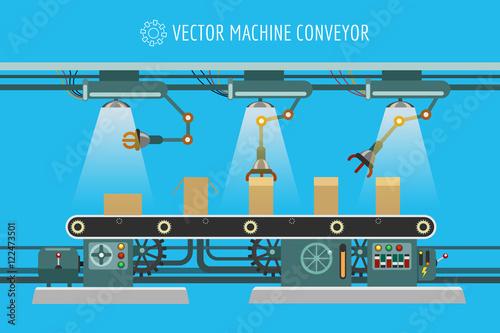 Fotomural Vector machine conveyor