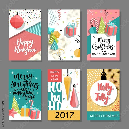 Set of merry christmas and new year flat design greeting card set of merry christmas and new year flat design greeting card background invitation stopboris Gallery