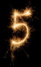 Digit Five Made Of Sparklers