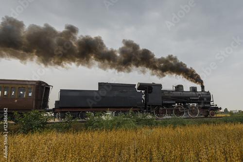 Obrazy na płótnie Canvas Steam locomotive runs between soybean fields