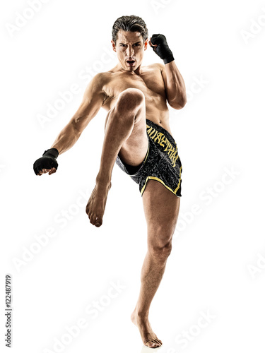 Fotomural Muay Thai kickboxing kickboxer boxing man isolated