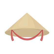 Conical Hat Icon In Cartoon Style Isolated On White Background. Hats Symbol Stock Vector Illustration.