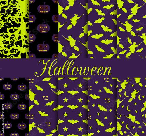 Materiał do szycia Dziesięć Halloween bez szwu wzorów. Wzór z Lampa Jack, czarownica z nietoperzy. Symbole Halloween. Tapeta, pościel, płytki, tkaniny, tła. Ilustracja wektorowa.