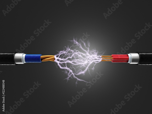 Slika na platnu electricity sparkls cable