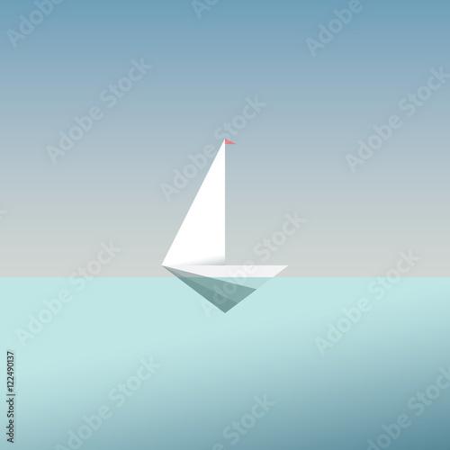 Jacht ikona symbol w nowoczesnym stylu low poly. Tło wakacje letnie lub podróży. Biznesowa metafora wolności i sukcesu.