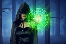 Asian Witch Woman With Cloak Showing Green Pentagram