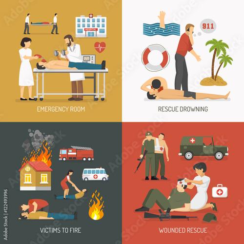 Fototapeta First Aid Concept 4 Flat Icons obraz na płótnie
