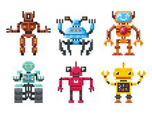 Pixel Robots Icons. 8 Bit Bots Vector Isolated Set