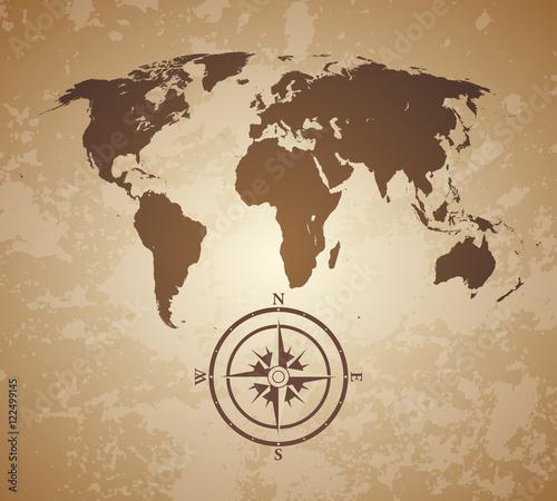 Foto op Canvas Wereldkaart old world map