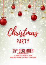 Christmas Party Flyer With Glass And Red Balls. Elegant Vector Illustration With Snow. Beautiful Background With Gold Confetti And Shining Sparks. Design Of Invitation To Night Club.