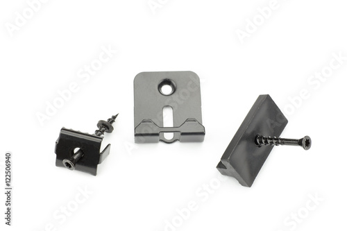 Photo Metal clamps for mounting composite decking board