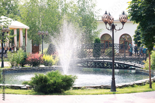 Autocollant pour porte Fontaine the beautiful fountain in park