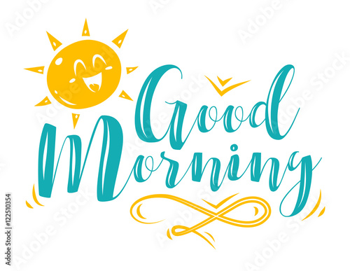 Vector illustration of sun character with lettering. Fototapet