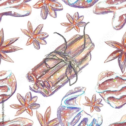 Zdjęcie XXL Akwarela kredki Bożenarodzeniowy tło. Ręka rysujący bezszwowy wzór. Można ich używać do pakowania papieru, karty z pozdrowieniami, wydruków.