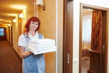 Chambermaid Woman At Hotel Service