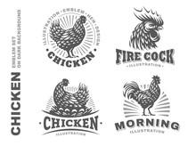 Set Chicken Emblem On White Ba...