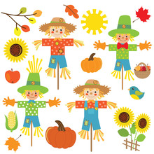 Scarecrow Vector Cartoon Illustration