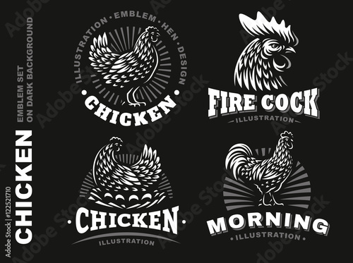 Canvas Print Set chicken emblem on dark background