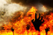 canvas print picture - Hand of Ghost with burning fire. Halloween holidays art design,
