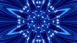 blue abstract background, kaleidoscope light and particles, loop