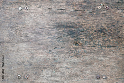 Poster de jardin Metal Closeup surface wood pattern at the old and crack wood table texture background