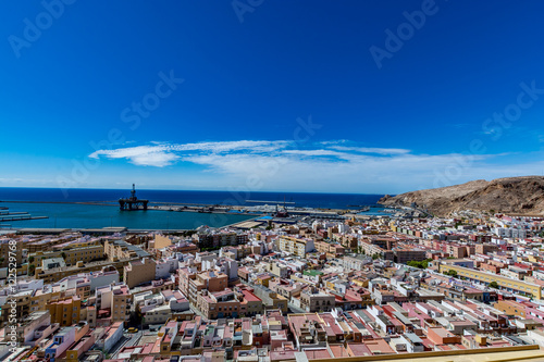 View of Almeria (Almería) old town and port from the castle (Alcazaba of Almeria), Spain